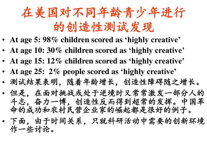 在美国对不同年龄青少年进行的创造性测试发现