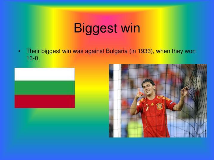 Biggest win