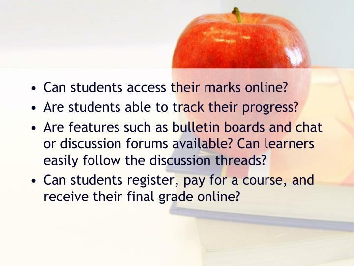 Can students access their marks online?