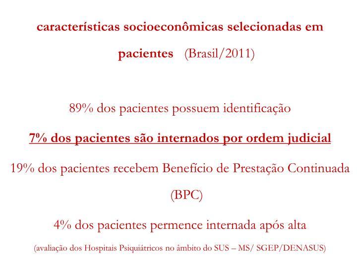 características socioeconômicas selecionadas em pacientes
