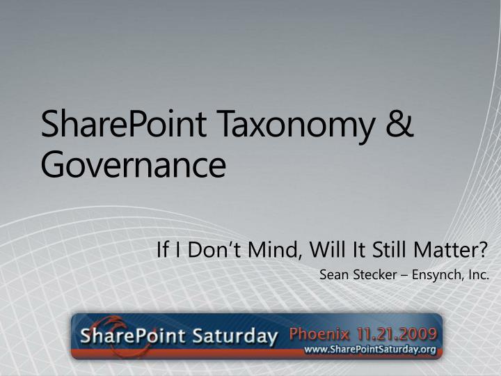 sharepoint taxonomy governance n.