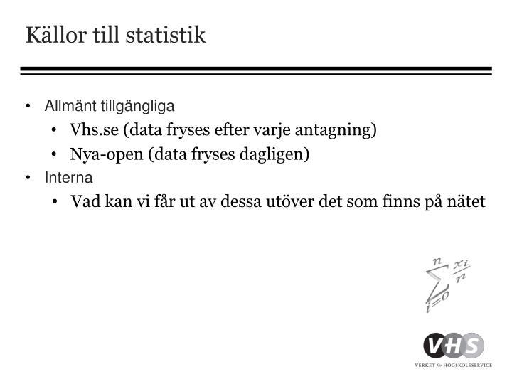 Källor till statistik
