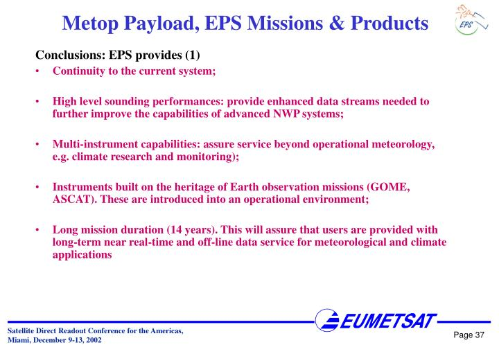 Conclusions: EPS provides (1)