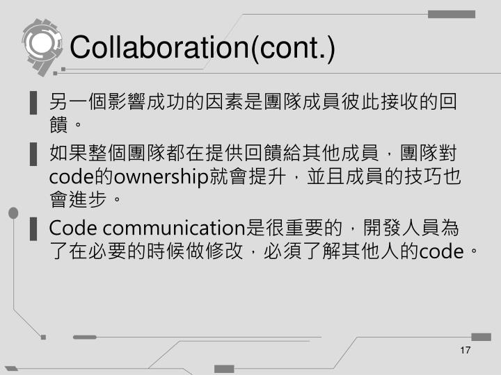 Collaboration(cont.)