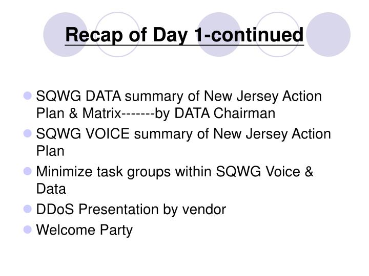 Recap of day 1 continued