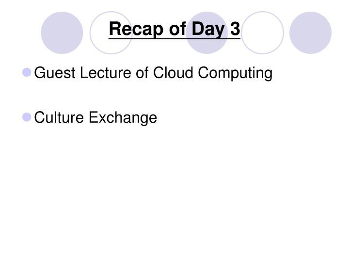 Recap of Day 3