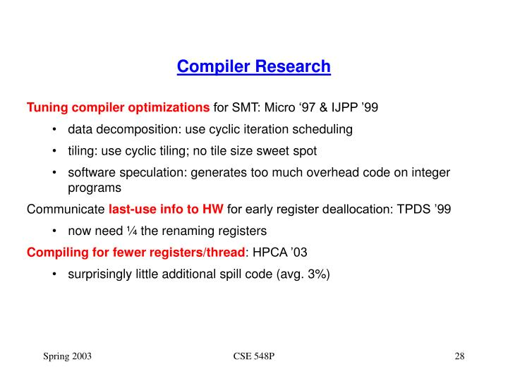 Compiler Research