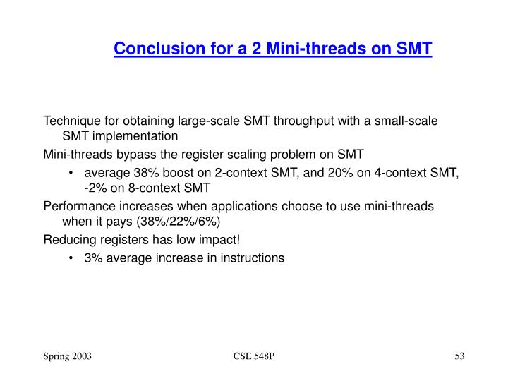 Conclusion for a 2 Mini-threads on SMT