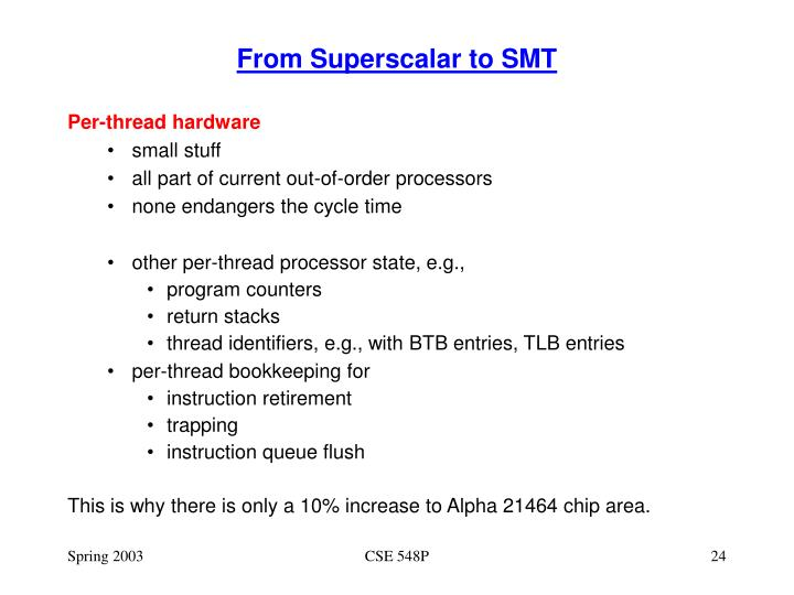 From Superscalar to SMT