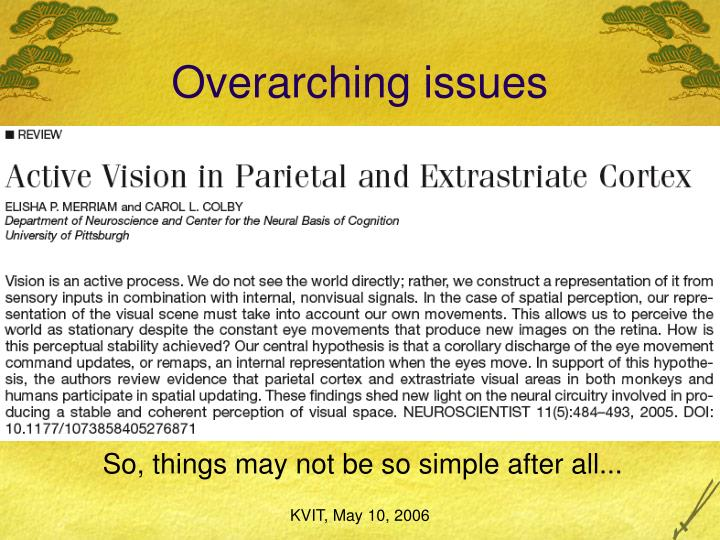 Overarching issues