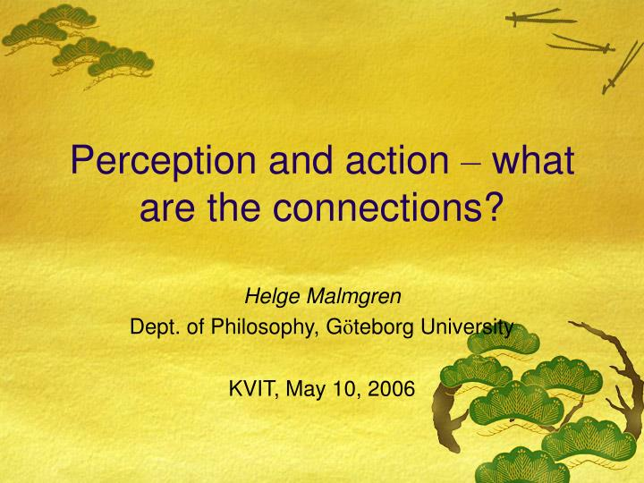 Perception and action what are the connections