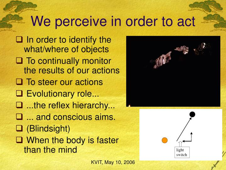 We perceive in order to act
