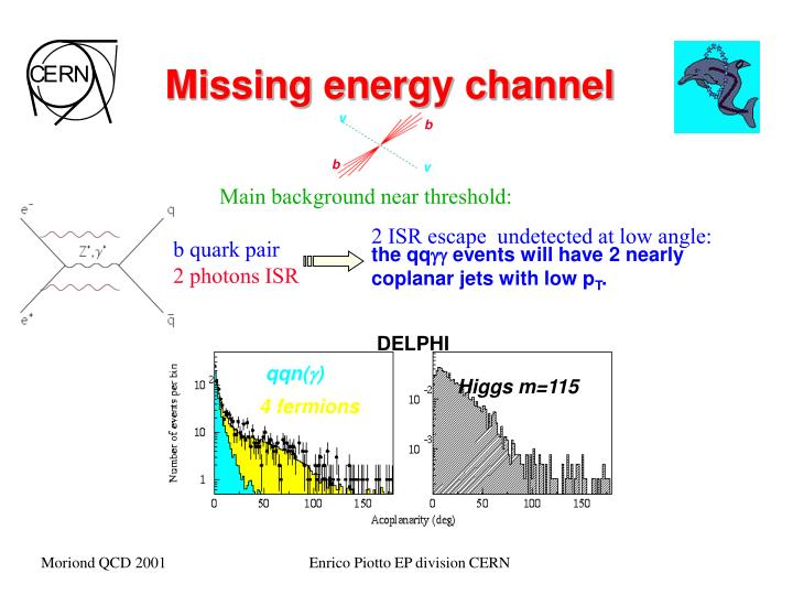 Missing energy channel