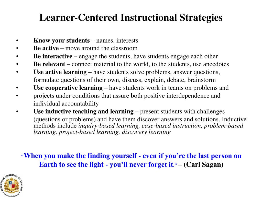 PPT - STUDENT-CENTERED TEACHING & LEARNING METHODS PowerPoint Presentation - ID:3489822
