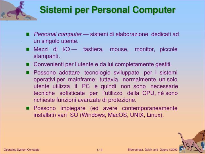 Sistemi per Personal Computer