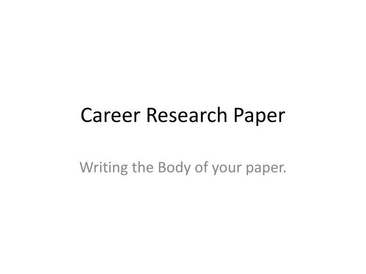 career research paper n.