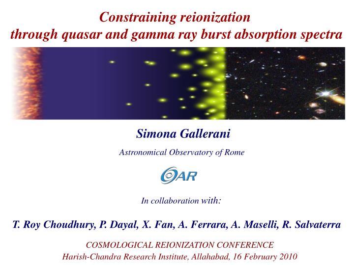Constraining reionization