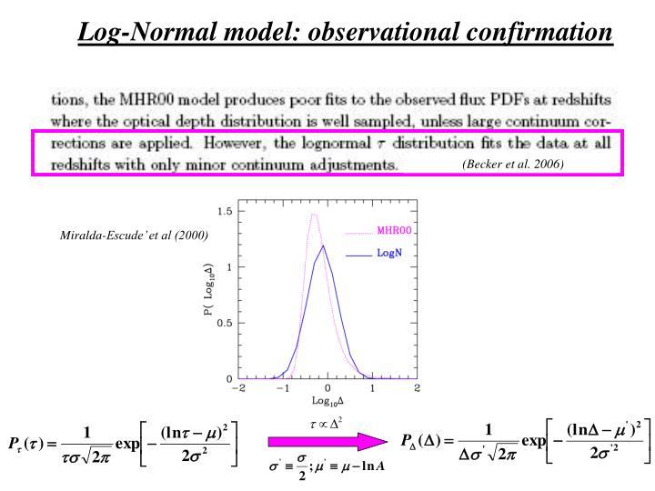 Log-Normal model: observational confirmation