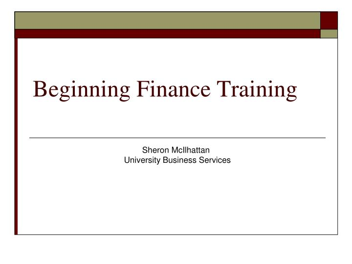 beginning finance training n.