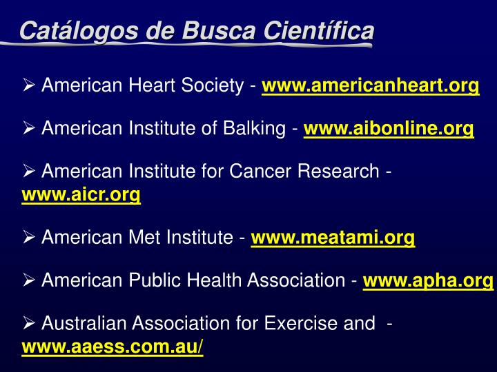 Catálogos de Busca Científica