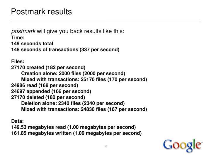 Postmark results