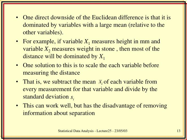 One direct downside of the Euclidean difference is that it is dominated by variables with a large mean (relative to the other variables).