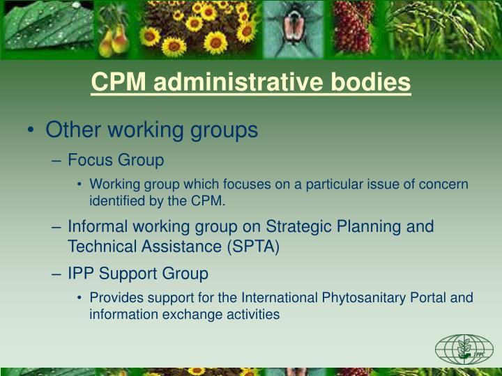 CPM administrative bodies