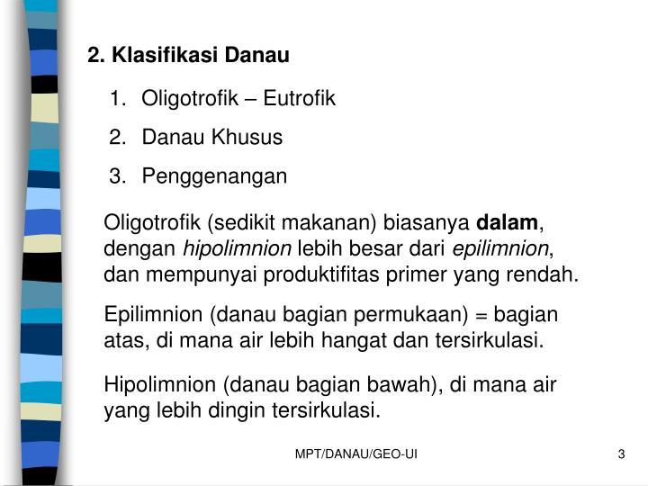 2. Klasifikasi Danau