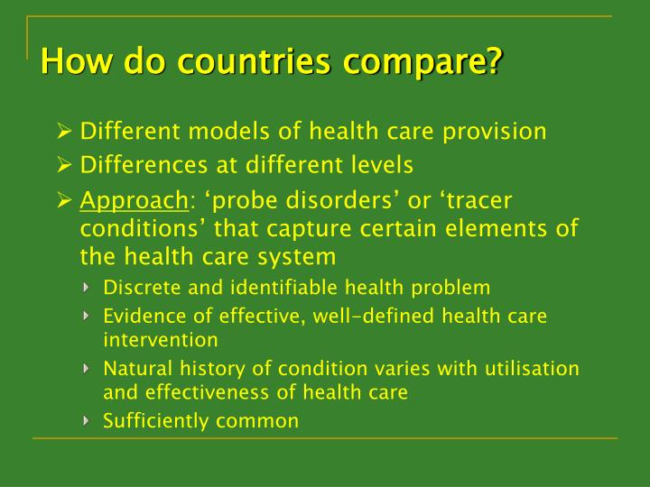 How do countries compare?