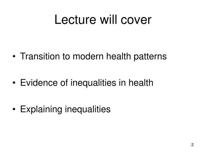 Lecture will cover