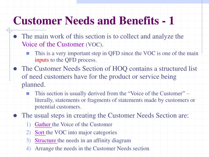 Customer Needs and Benefits - 1