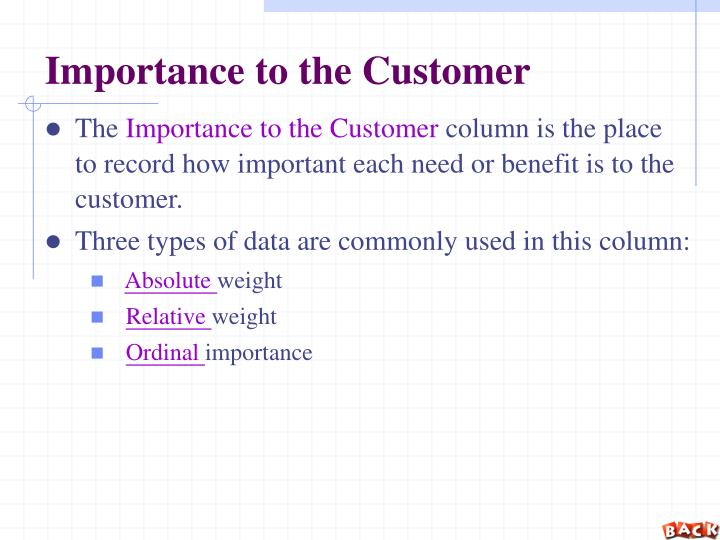 Importance to the Customer