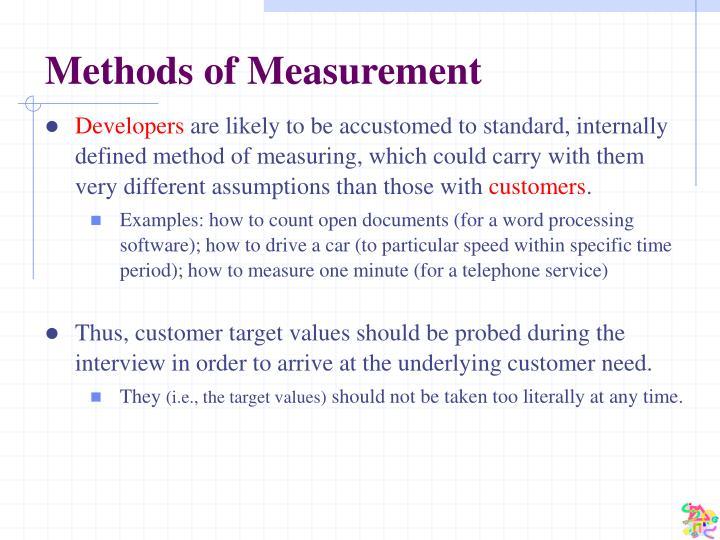 Methods of Measurement