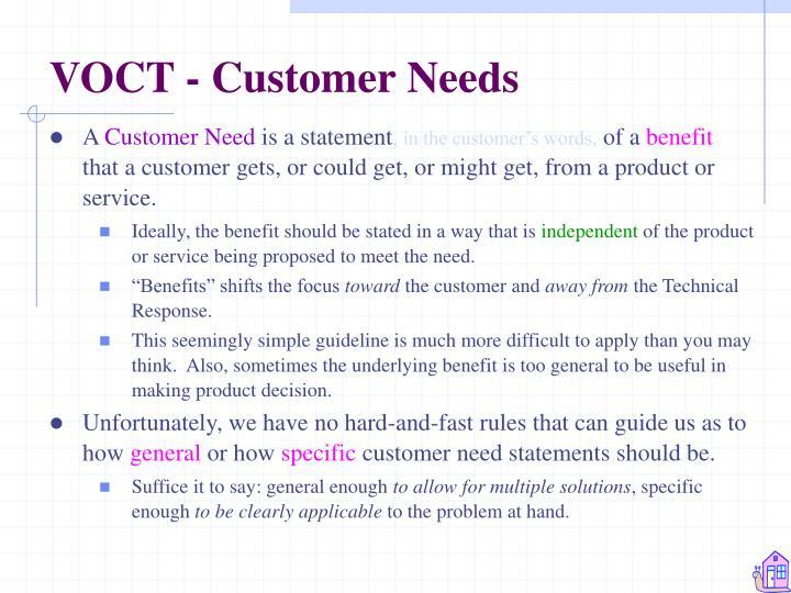 VOCT - Customer Needs