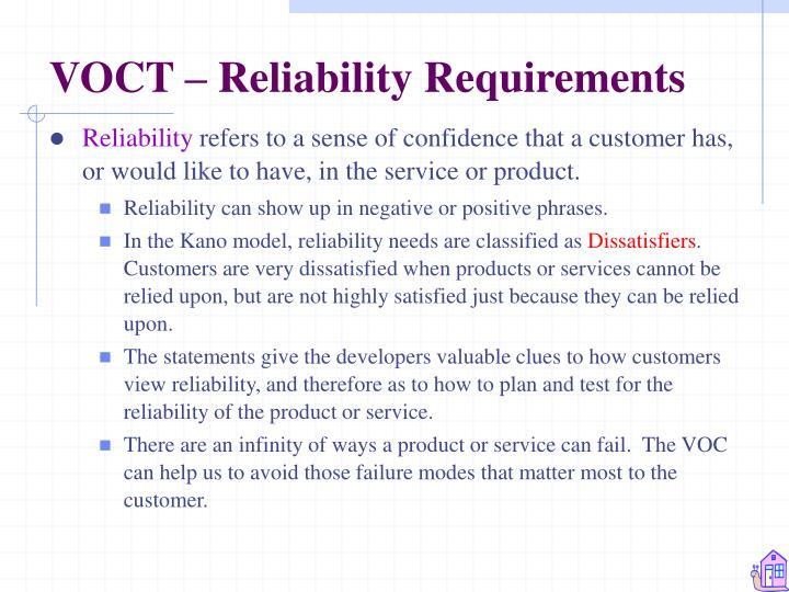VOCT – Reliability Requirements