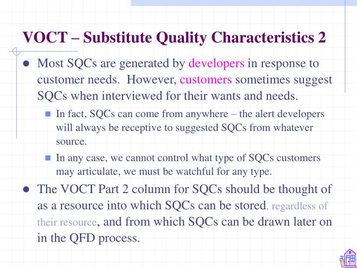 VOCT – Substitute Quality Characteristics 2