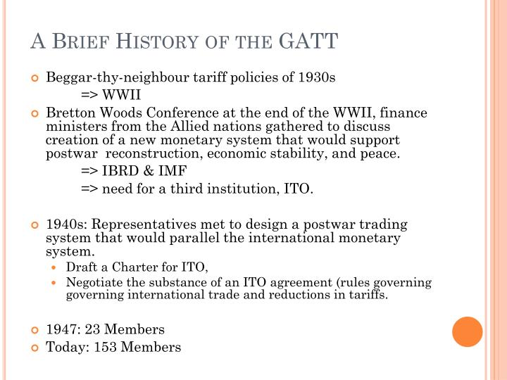 Ppt History Of Gatt Amp The Wto System Powerpoint Presentation