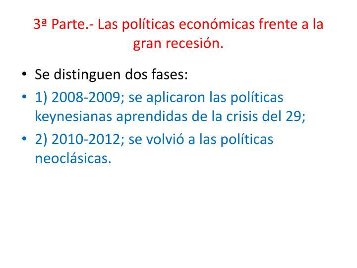 3ª Parte.- Las políticas económicas frente a la gran recesión.