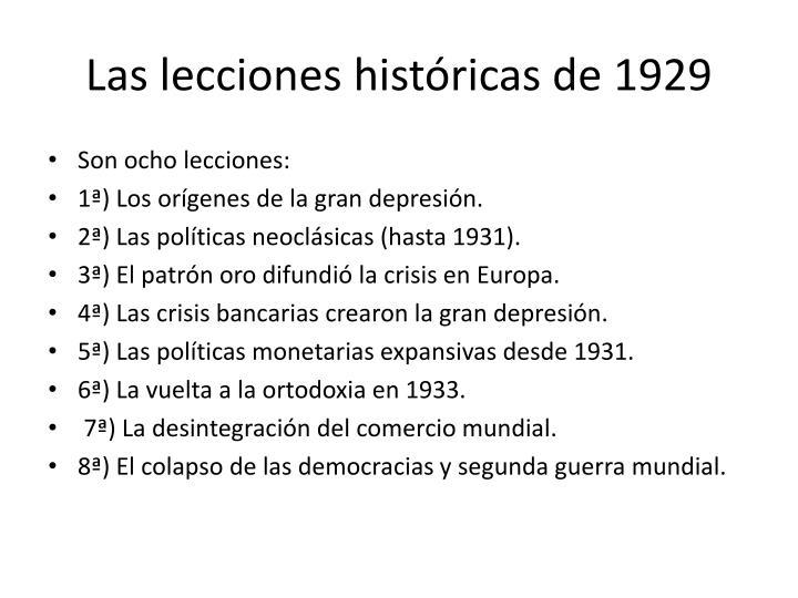 Las lecciones históricas de 1929