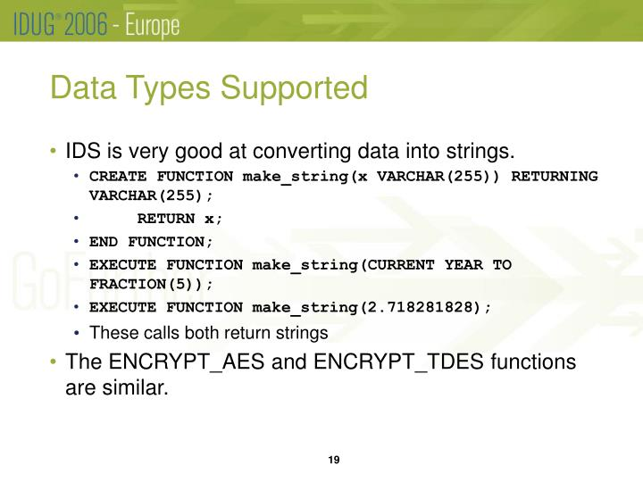 Data Types Supported