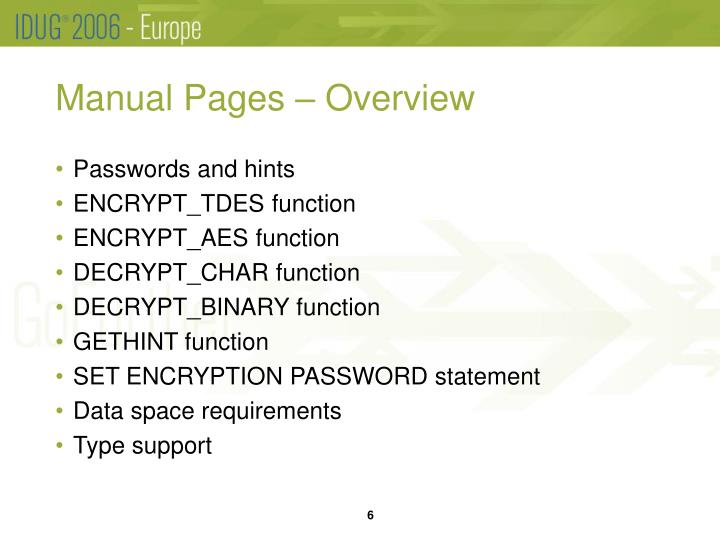 Manual Pages – Overview