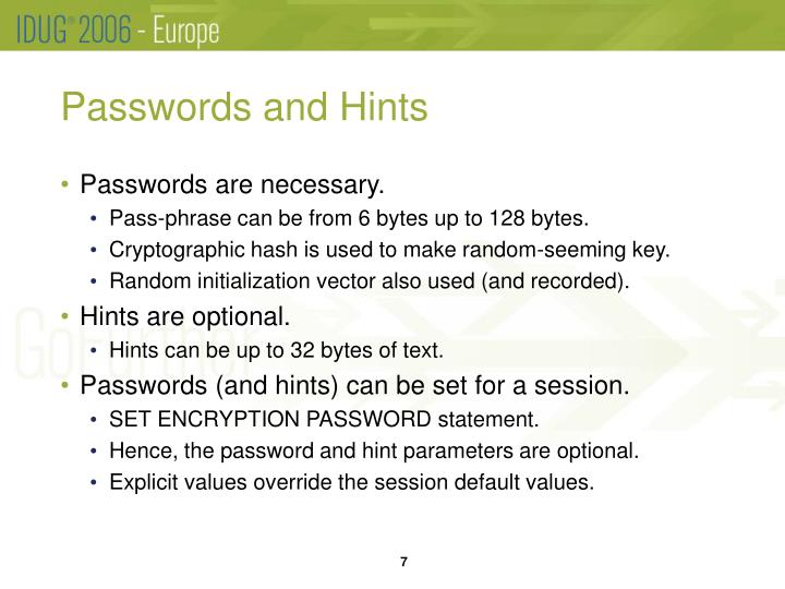 Passwords and Hints