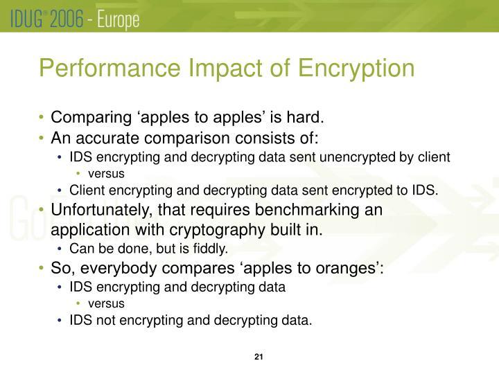 Performance Impact of Encryption