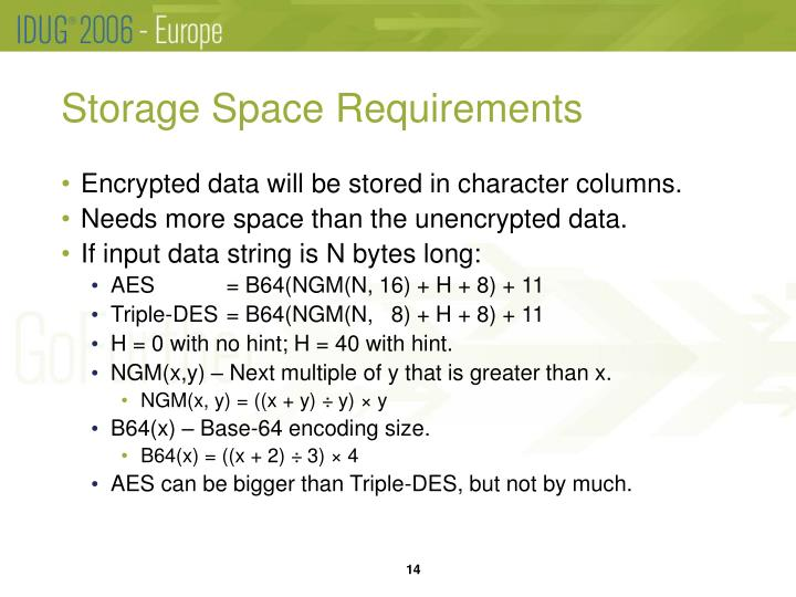 Storage Space Requirements