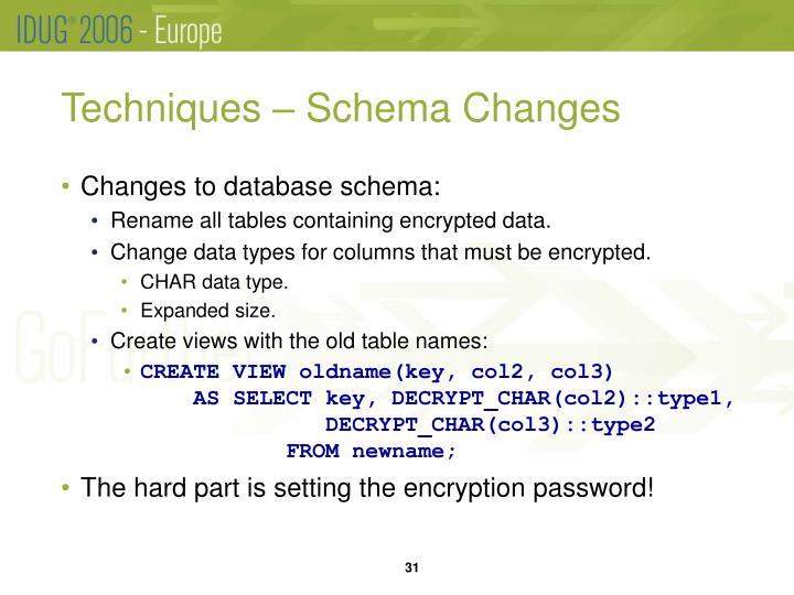 Techniques – Schema Changes