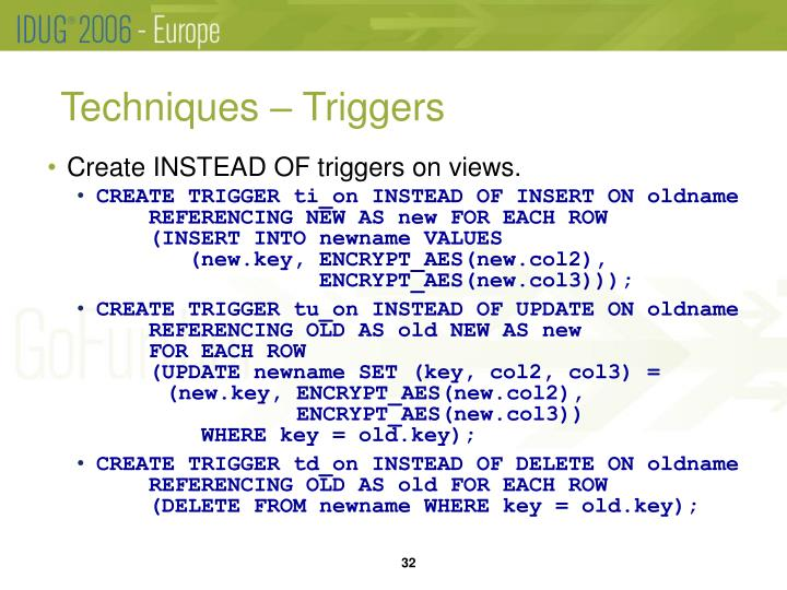 Techniques – Triggers