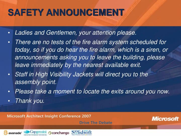 Safety announcement