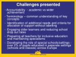 challenges presented