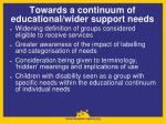 towards a continuum of educational wider support needs