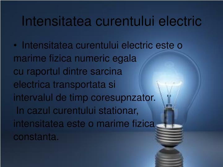 Intensitatea curentului electric
